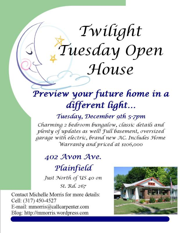 Twilight Tuesday Open house, Tuesday December 9th from 5-7 pm. Just North of US40 on State Road 267